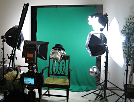 Green screen setup.