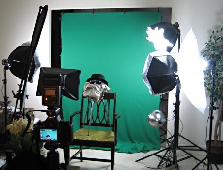 Green screen setup.